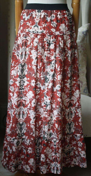 IRO AMITA PRINTED VOILE MAXI SKIRT FR 34 UK 6