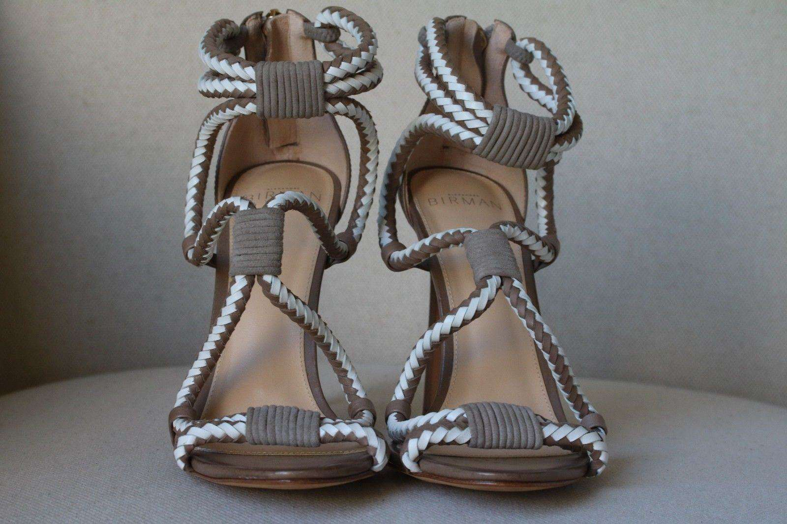 ALEXANDRE BIRMAN BRAIDED TWO-TONE SANDALS HEELS EU 38 UK 5 US 8
