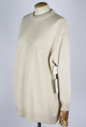 BALENCIAGA OVERSIZED EMBROIDERED CASHMERE SWEATER XSMALL