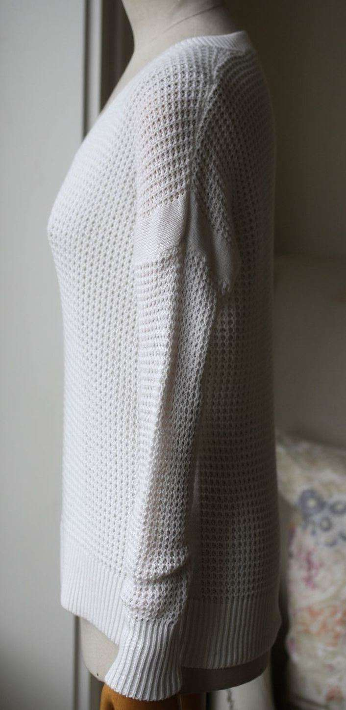 360 CASHMERE WHITE V-NECK SWEATER XS