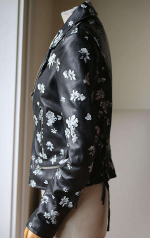 IRO PHEDRA FLORAL PRINT LEATHER BIKER JACKET FR 40 UK 12