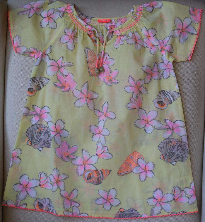 SUNUVA GIRLS YELLOW FLORAL KAFTAN DRESS 4-5 YEARS