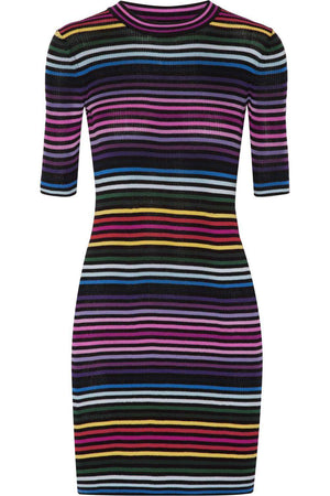 MARC JACOBS STRIPED RIBBED COTTON MINI DRESS SMALL