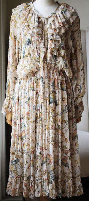 ZIMMERMANN RUFFLED PRINTED SILK GEORGETTE MIDI DRESS UK 14