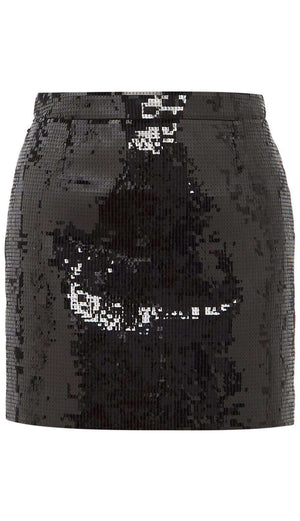SAINT LAURENT SEQUIN EMBELLISHED MINI SKIRT FR 38 UK 10