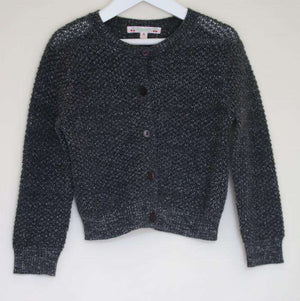 BONPOINT GIRLS GREY SPARKLE WOOL BLEND CARDIGAN 4 YEARS