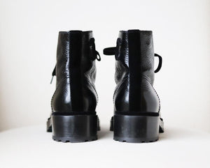 CHANEL PEARL EMBELLISHED CRACKLED CALFSKIN LEATHER BOOTS EU 41 UK 8 US 11