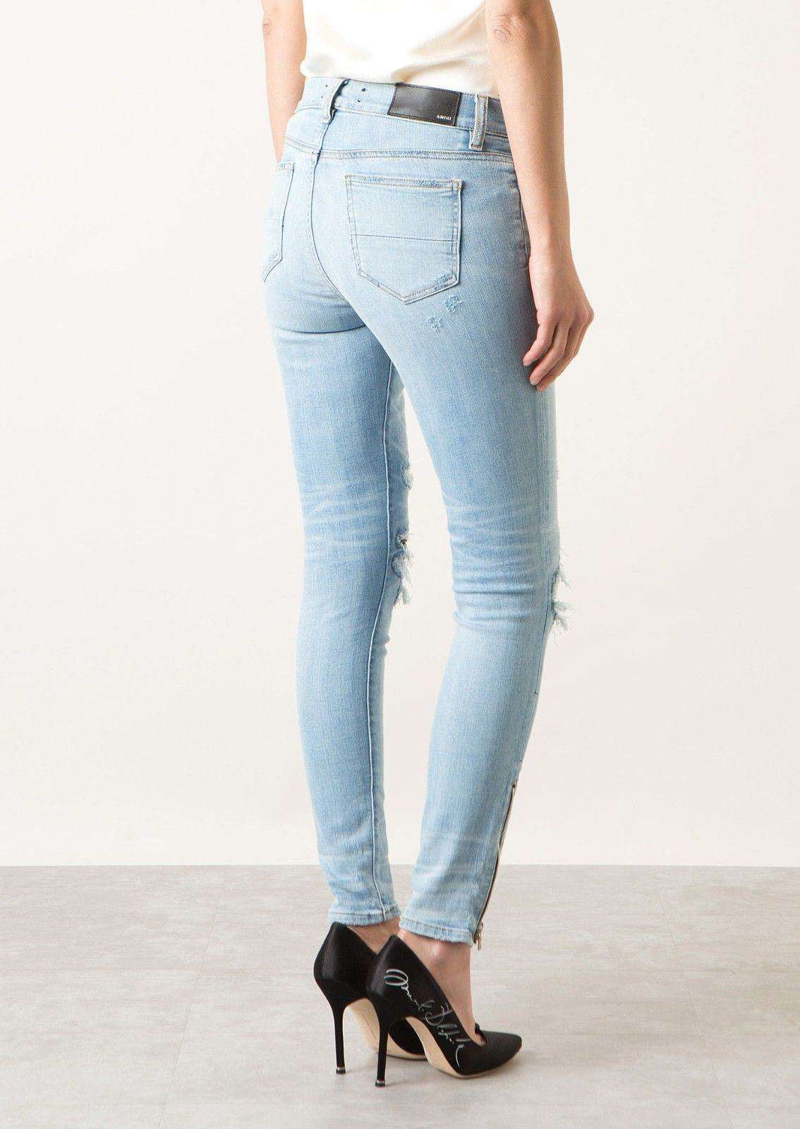 AMIRI MX1 LEATHER PATCH SKINNY JEANS IN LIGHT WASH W24 UK 6