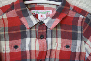 BONPOINT BABY RED CHECKED SHIRT 2 YEARS