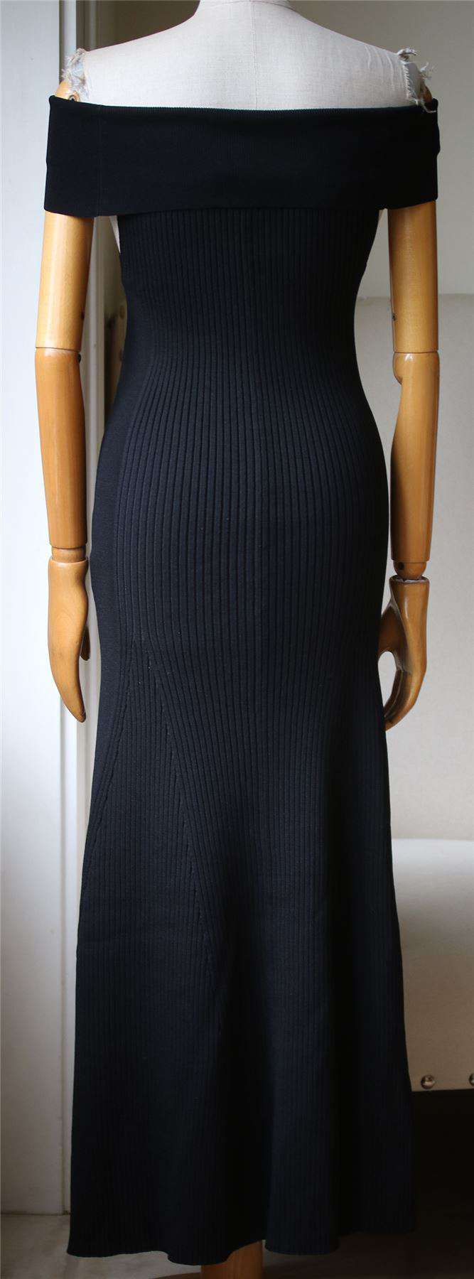 BY MALENE BIRGER ALLIANE OFF THE SHOULDER RIBBED MAXI DRESS MEDIUM