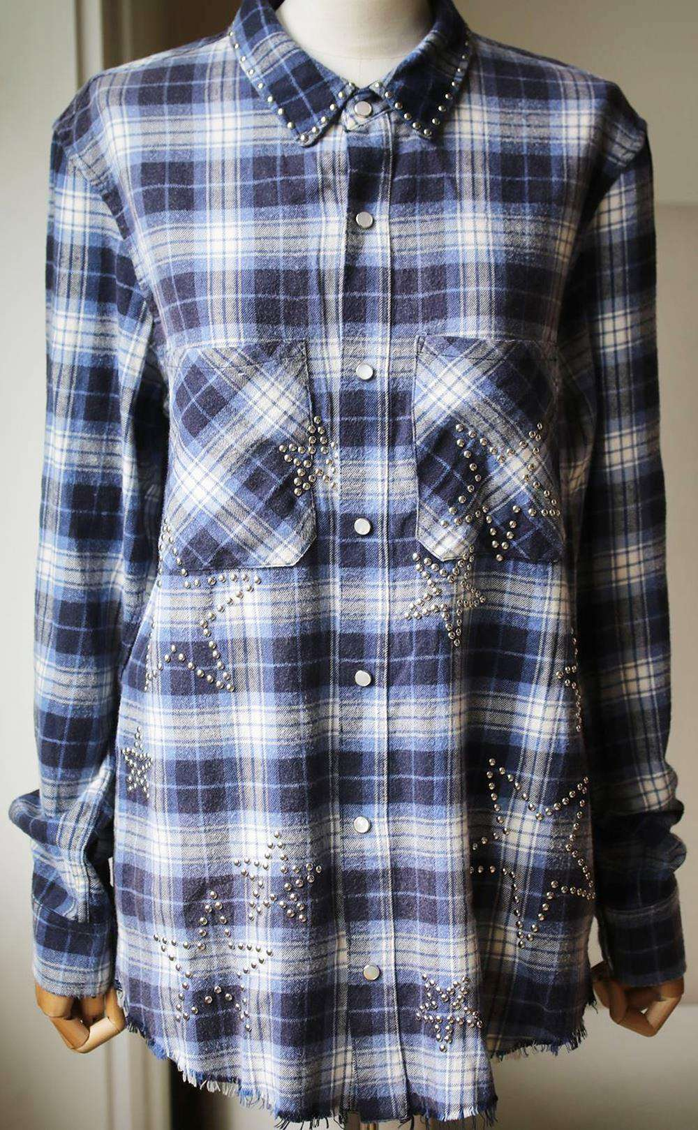 AMIRI STAR EMBELLISHED CHECKED COTTON FLANNEL SHIRT SMALL