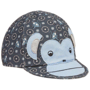 DOLCE AND GABBANA BABY BLUE COTTON MONKEY PRINT CAP HAT 12-18 MONTHS