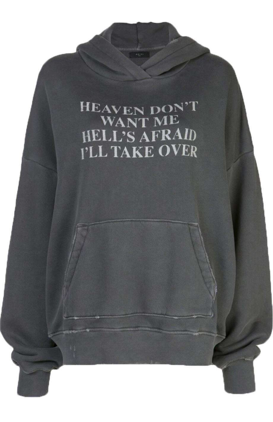 AMIRI HEAVEN AND HELL PRINTED COTTON JERSEY HOODIE MEDIUM