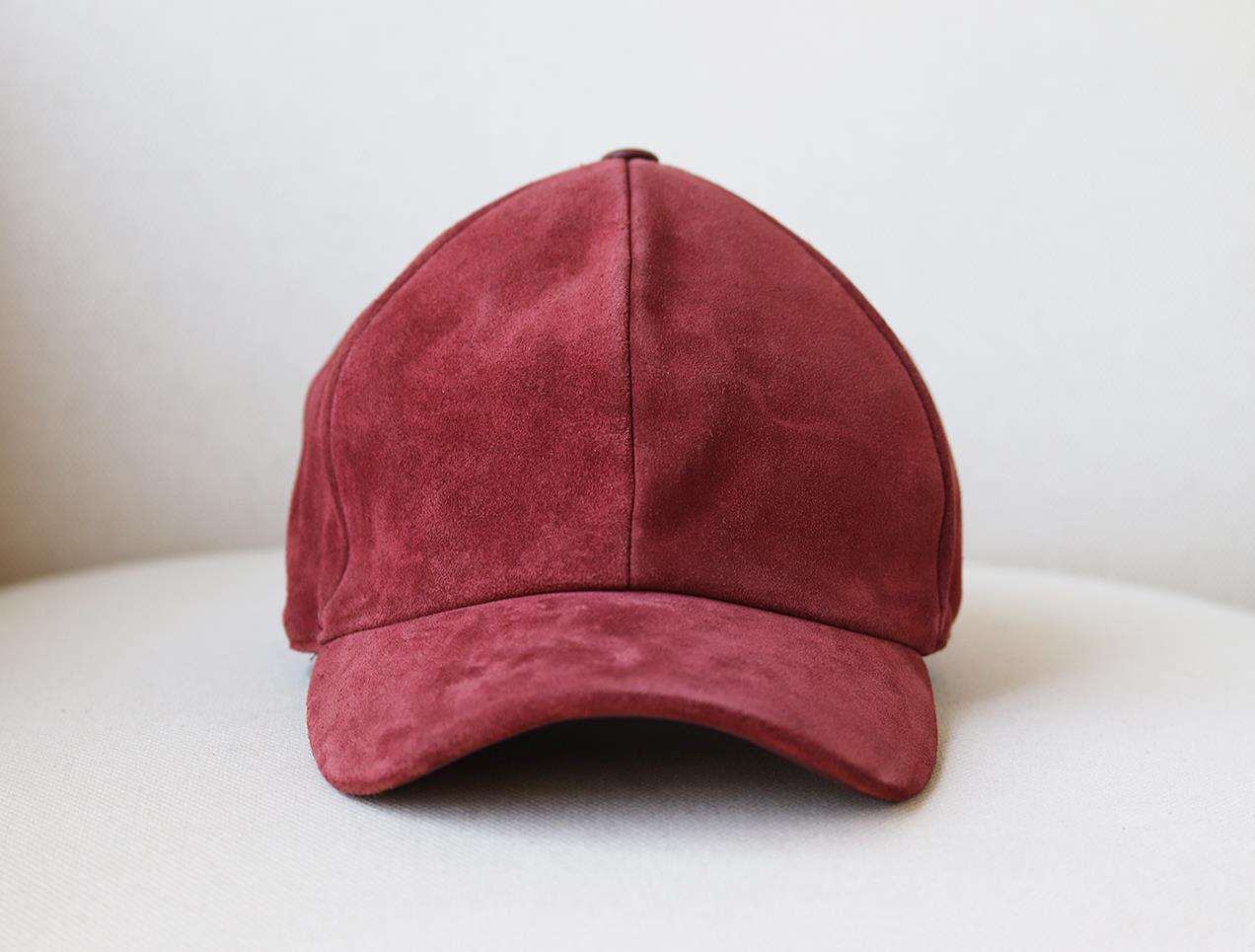 VIANEL NEW YORK LEATHER TRIMMED SUEDE BASEBALL CAP