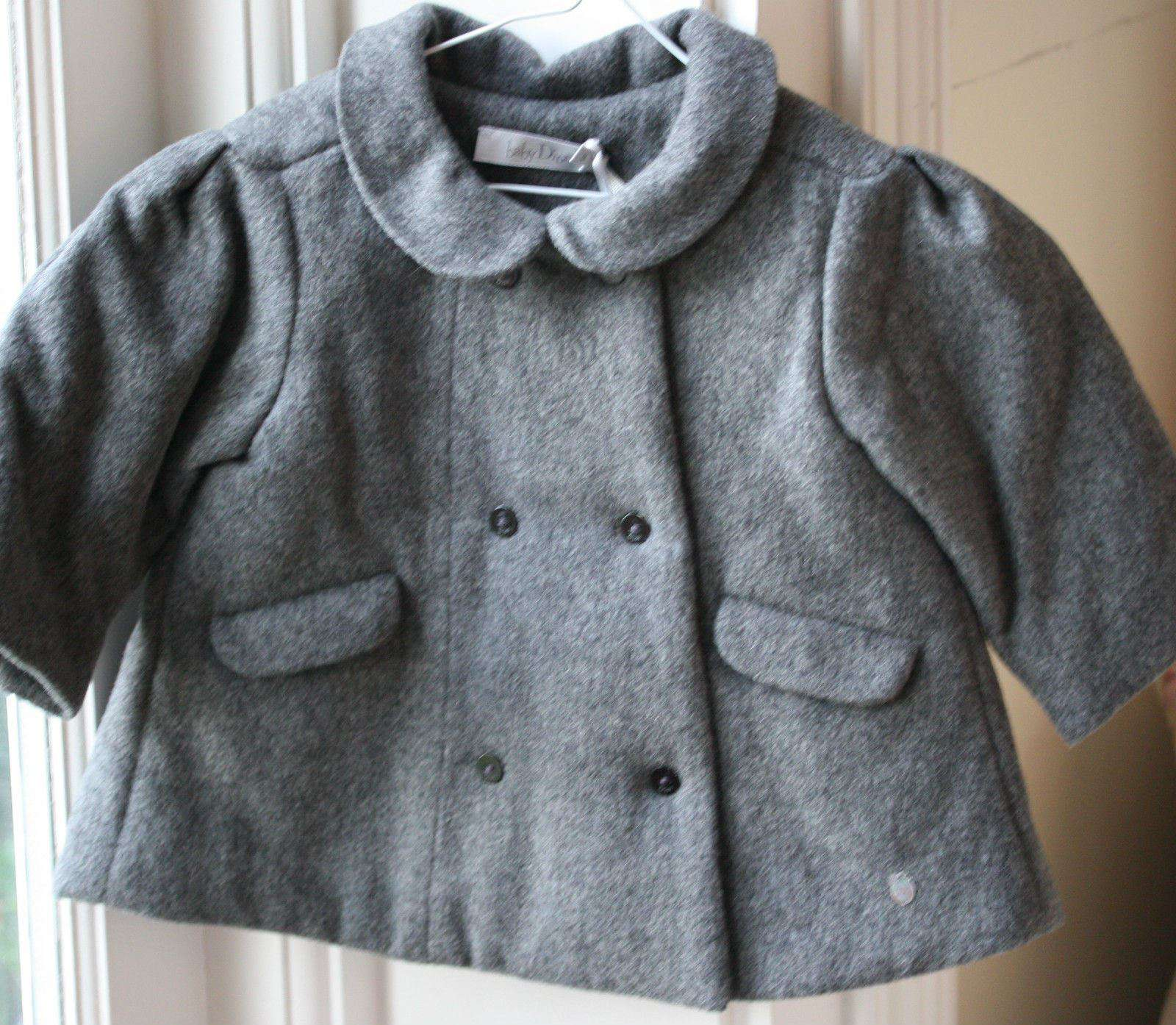 BABY DIOR GREY CASHMERE BLEND PADDED COAT 9 MONTHS