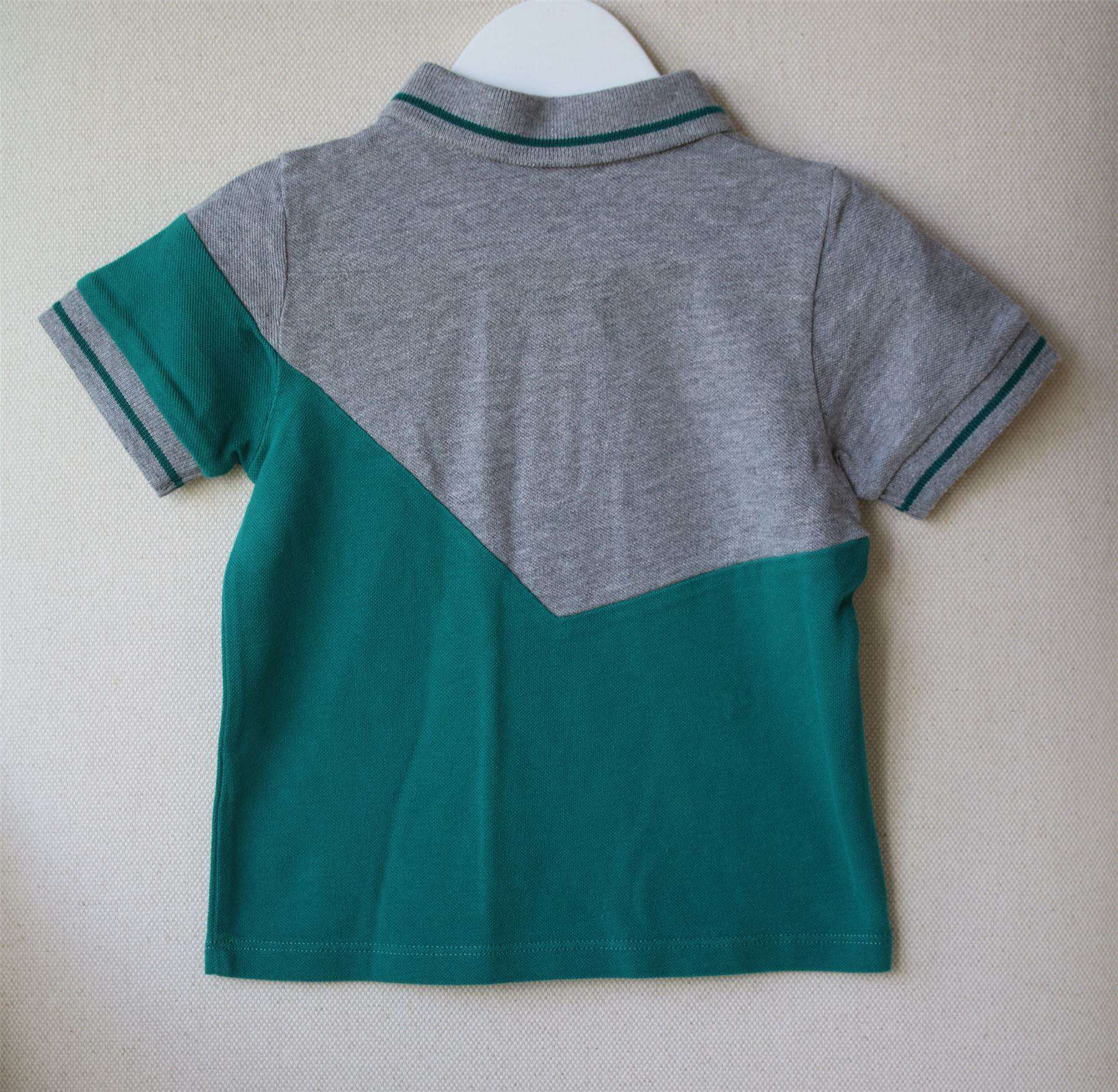 BABY DIOR BOYS GREY & GREEN POLO SHIRT 18 MONTHS