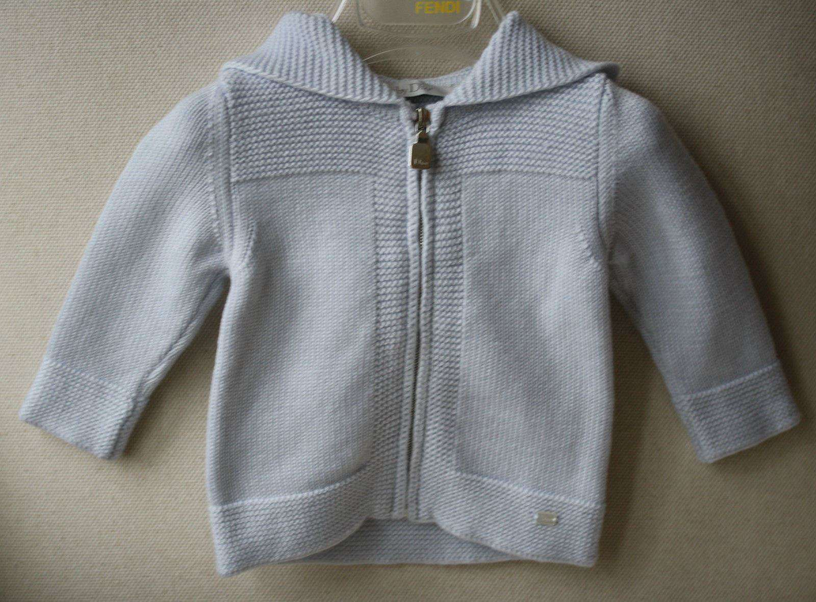 BABY DIOR BLUE WOOL HOODED CARDIGAN 6 MONTHS