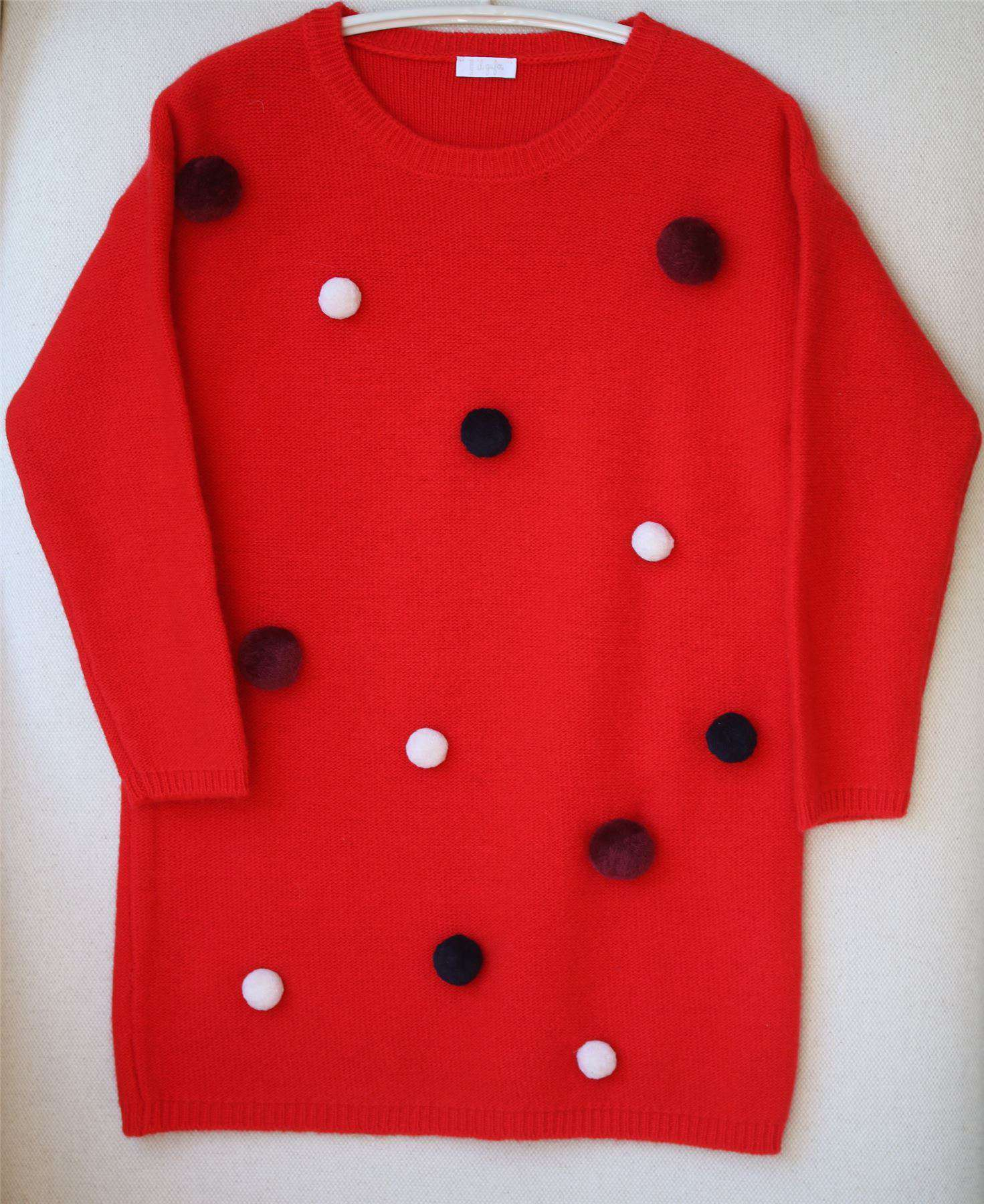 IL GUFO GIRLS RED POM-POM WOOL DRESS 5 YEARS