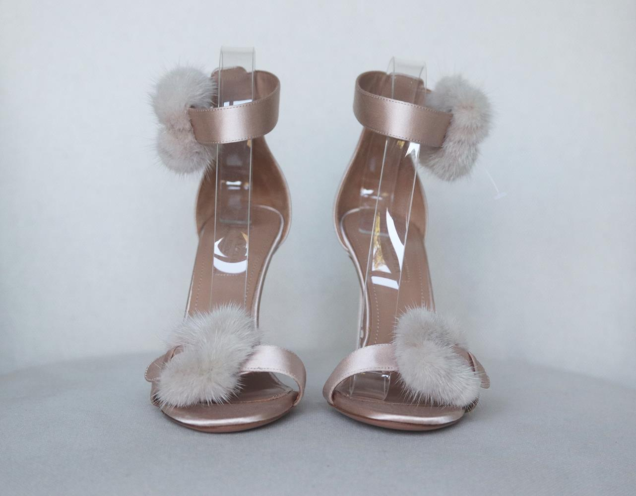 AQUAZZURA SINATRA MINK TRIMMED SATIN SANDALS EU 39.5 UK 6.5 US 9.5
