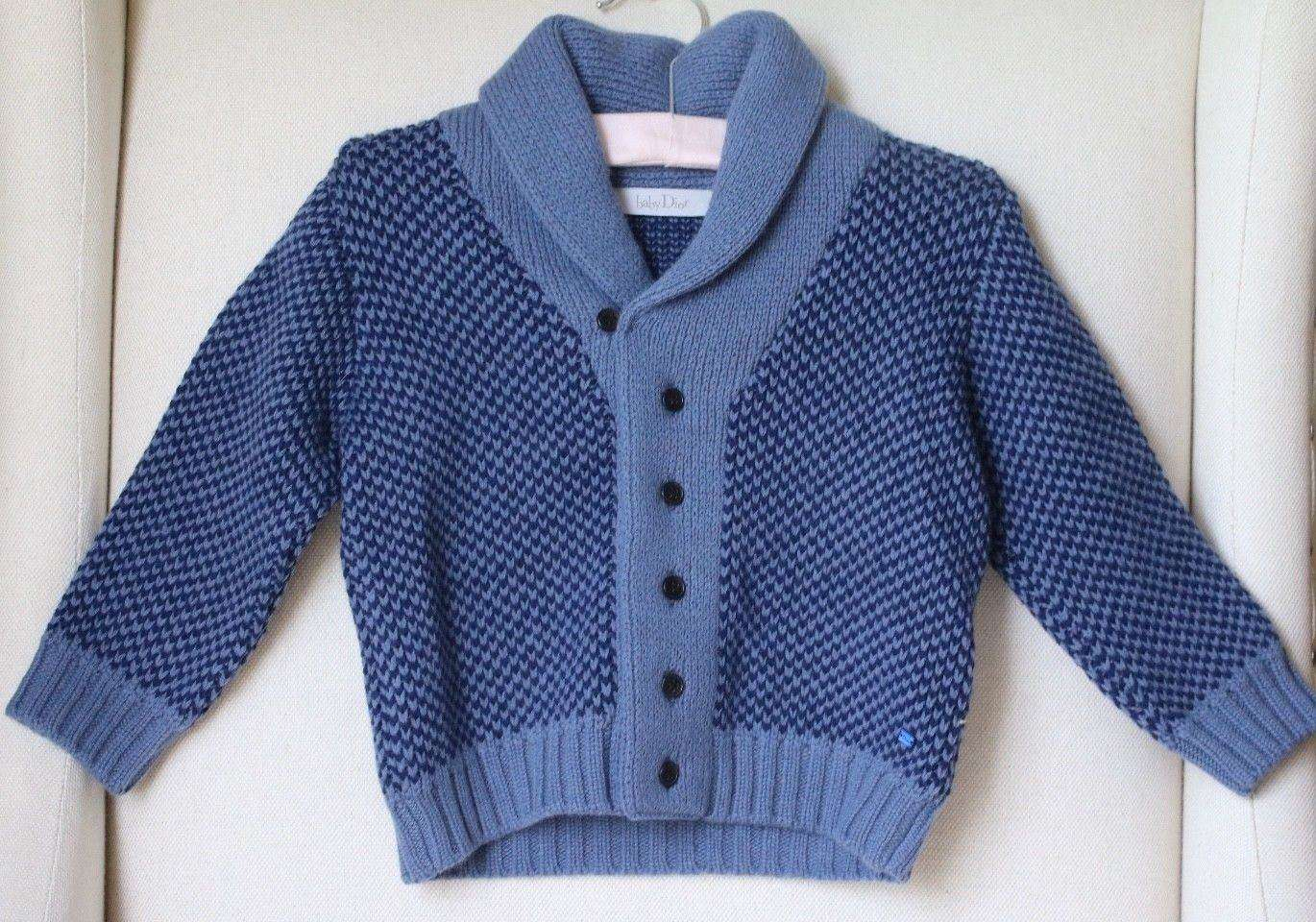 BABY DIOR BOYS BLUE CASHMERE WOOL BLEND KNIT CARDIGAN 18 MONTHS