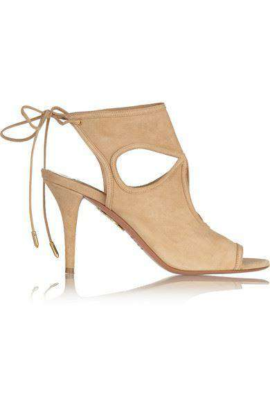 AQUAZZURA SEXY THING CUTOUT SUEDE SANDALS EU 38.5 UK 5.5 US 8.5