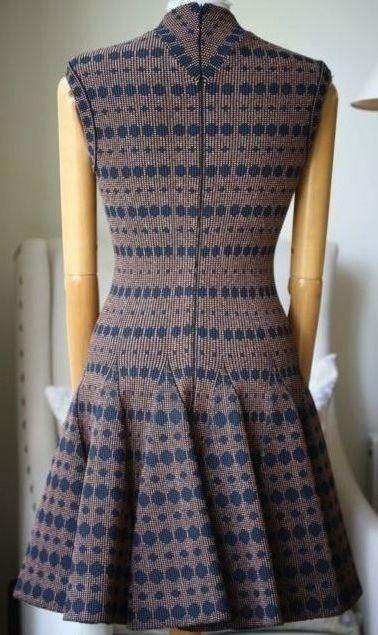 AZZEDINE ALAIA BRONZE AND NAVY DOTTED DRESS FR 38 UK 8