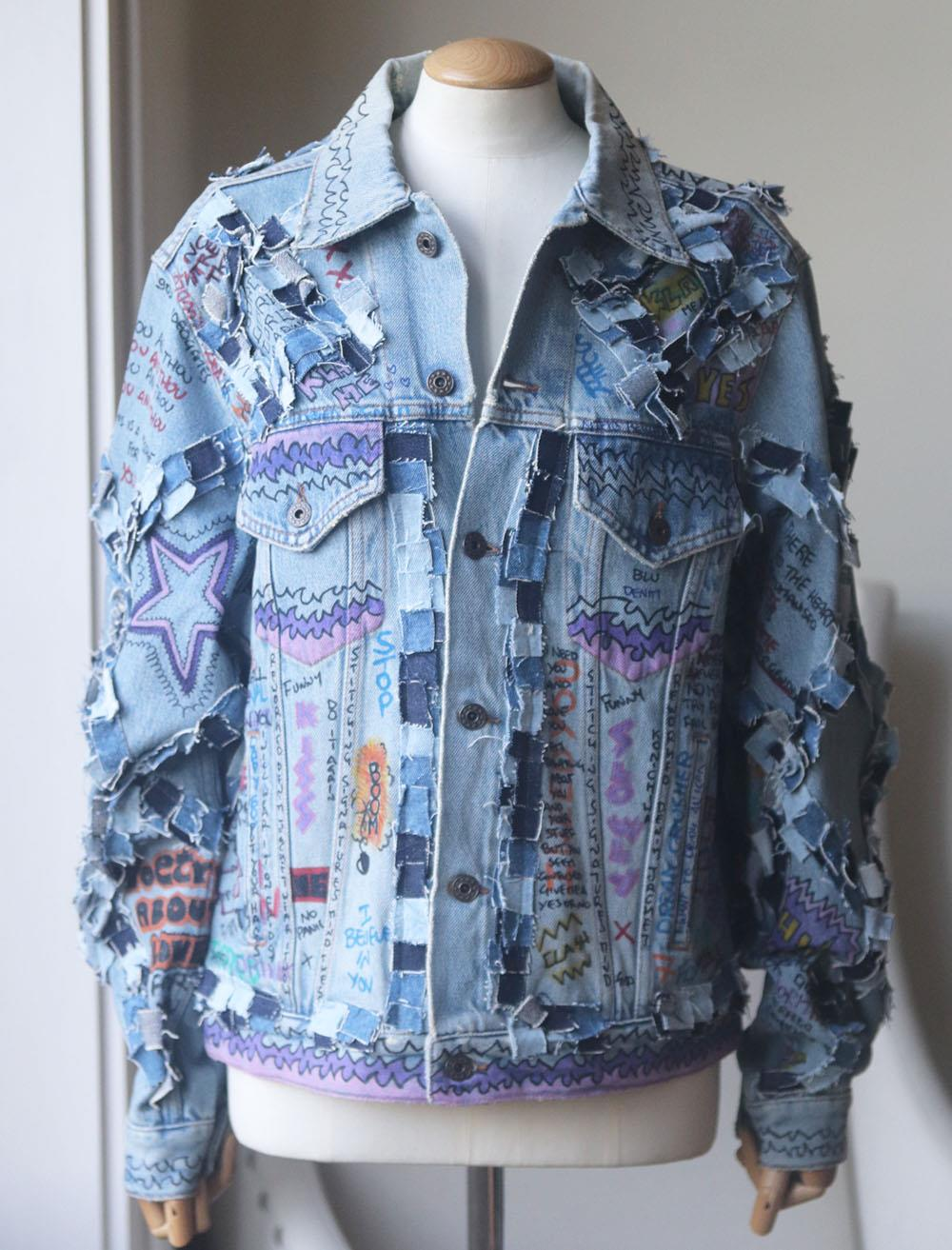 FAITH CONNEXION OVERSIZED DISTRESSED PRINTED DENIM JACKET XSMALL