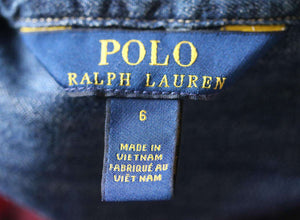 POLO RALPH LAUREN KIDS GIRLS DENIM SHIRT 6 YEARS
