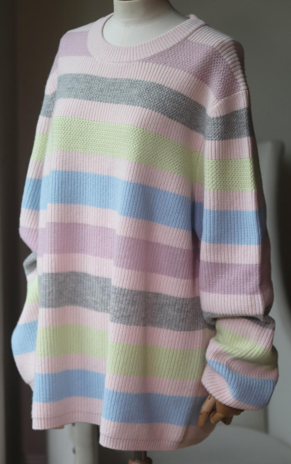 OPENING CEREMONY STRIPED RIBBED WOOL AND CASHMERE SWEATER LARGE
