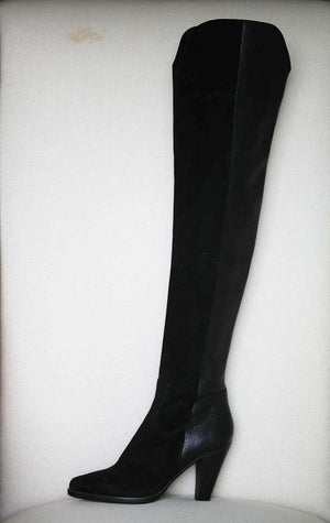 CHLOÉ SUEDE AND TEXTURED LEATHER OVER THE KNEE BOOTS EU 38 UK 5 US 8