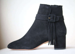 AQUAZZURA TATIANA SUEDE BUCKLE ANKLE BOOTS EU 37.5 UK 4.5 US 7.5