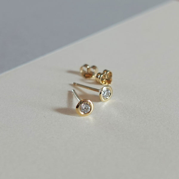 Bezel Set Diamond Earrings Gold - MilaMela.com