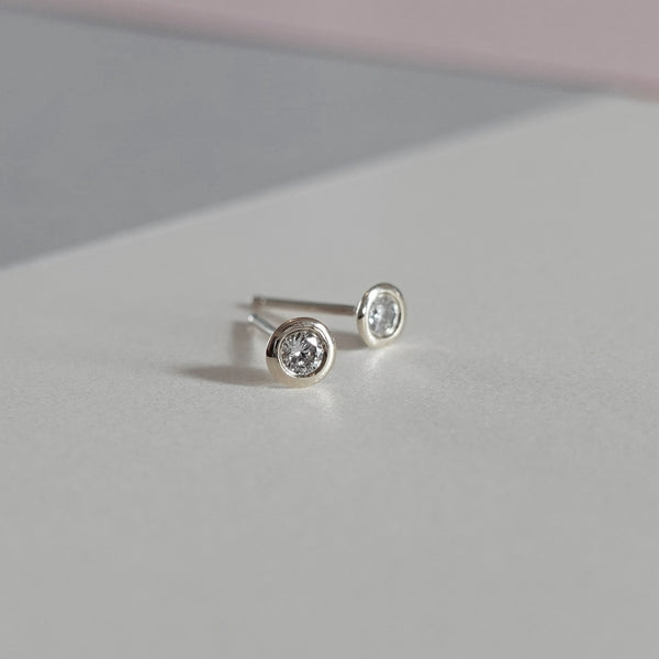 Petite Bezel Set Diamond Earrings White Gold - MilaMela.com