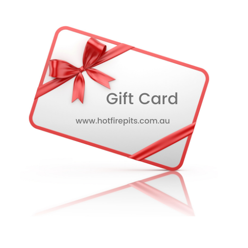 Gift Card with text and red bow with ribbon for www.HotFirePits.com.au