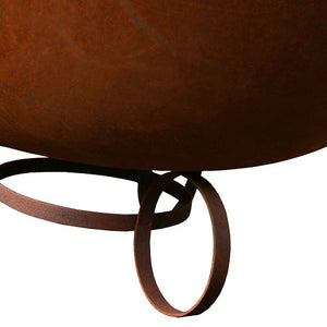 lose up view of cast iron bowl on ring base