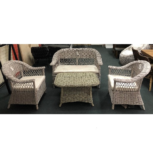 Marseille 4 piece natural KUBU wicker set
