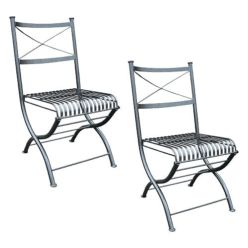 Two Rye Folding Outdoor Steel Chairs