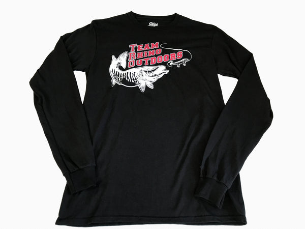 Team Rhino Outdoors - Long Sleeve Black T Shirt w/red white logo