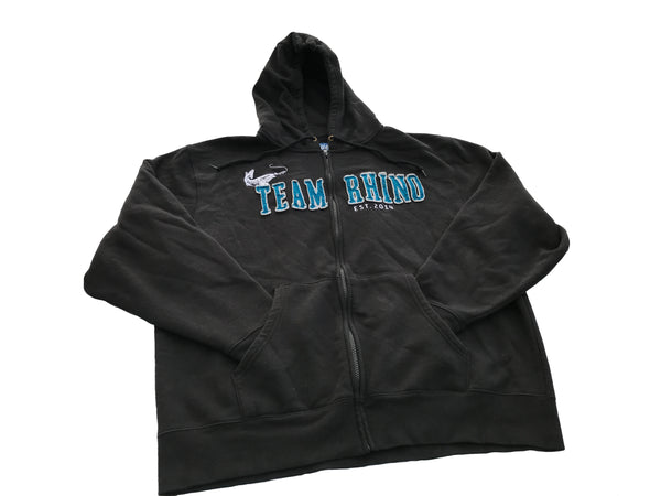 Team Rhino Outdoors - Black/Blue Full Zip Hooded Sweatshirt
