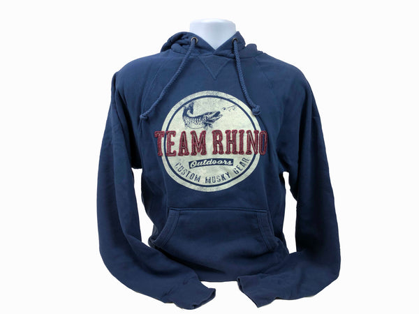 TRO - Steel Blue Circle Custom Musky Gear Applique Logo Hoodie