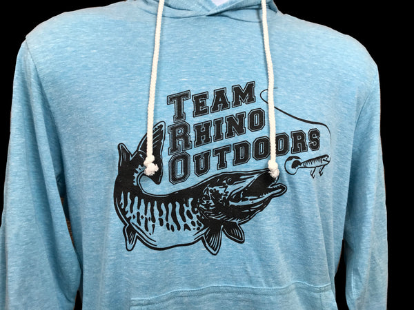 TRO - Turquoise w/black logo Tri Blend Hooded T Shirt