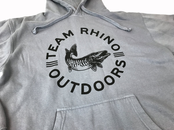 Team Rhino Outdoors - Steel Grey Circle Fish Logo Hoodie