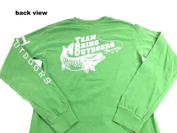 Team Rhino Outdoors Classic Power Musky Long Sleeve T Greentini (S and 2XL Only)