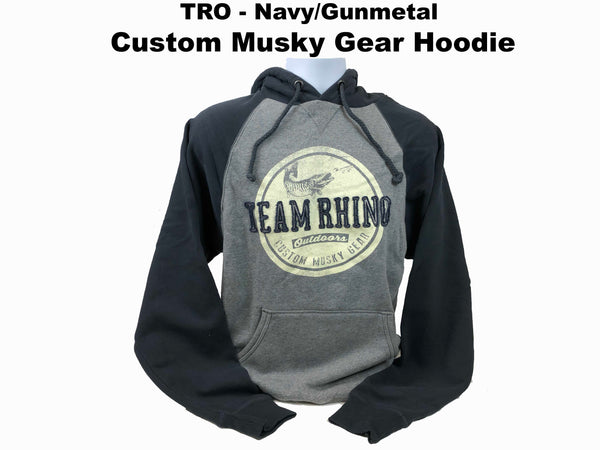 TRO - Navy/Gunmetal Circle Custom Musky Gear Applique Logo Hoodie