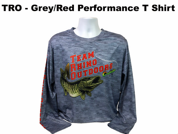 TRO - Grey/Red Logo Long Sleeve Performance T