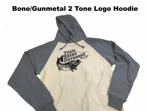 Team Rhino Outdoors - Bone/Gunmetal 2 Tone Logo Hoodie (Small and Medium Only)