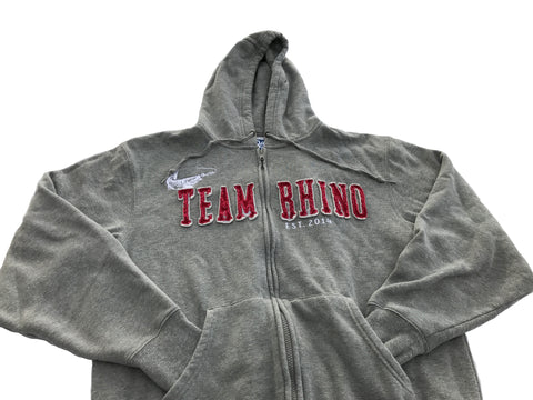 Team Rhino Outdoors -Grey/Red Full Zip Hooded Sweatshirt