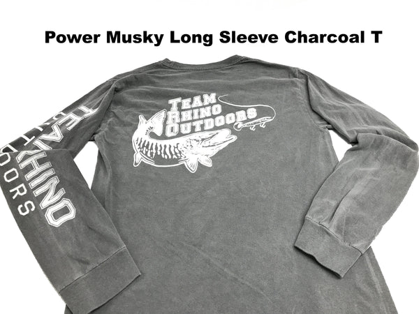 Team Rhino Outdoors Classic Power Musky Long Sleeve T Charcoal (Small and M Only)