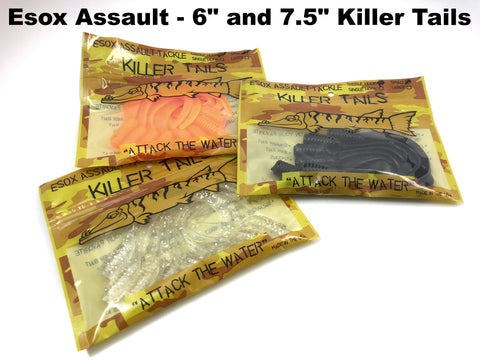 "Esox Assault Killer Tails 6"" and 7.5"""