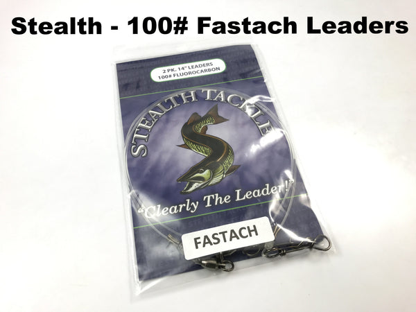 Stealth Tackle - 100# Fluorocarbon Fastach Leaders (ST100 Fastach 2 Pack)